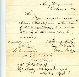 Welles, Gideon and Rogers,G.W. (KIA) naval document