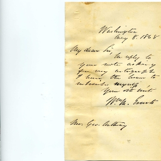 Evarts, William M. autograph letter