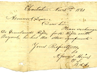25th South Carolina Infantry Charleston Armory document