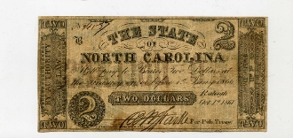 CSA North Carolina $2 Note, 1861, red overprint, XF