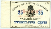 CSA South Carolina 25 c 1863 Note, AU+, Watermarked