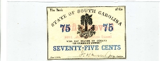 CSA South Carolina 75 c 1863 Note, CU