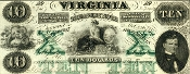 CSA Virginia $10 Note, CU