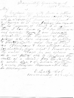 43rd North Carolina Militia letter/ Discharge for sickness