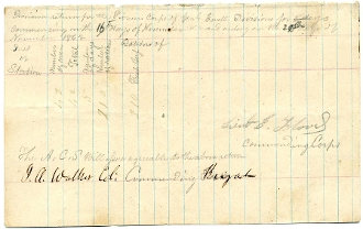 "Walker, James autographed war date document/ ""Stonewall"" Brigade"
