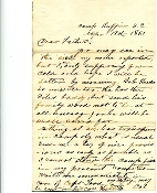 3rd South Carolina Battn Infantry soldier's letter/ Camp Ruffin