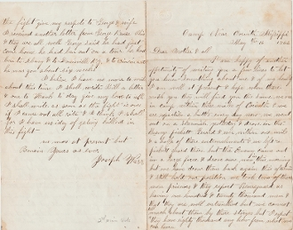 2nd Minnesota Infantry soldier's letter/ Corinth, Mississippi