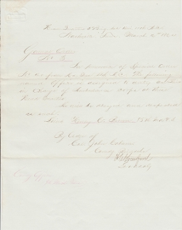 85th Indiana Infantry document/ Ambulance Corps
