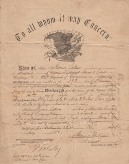116th Pennsylvania Infantry soldier's discharge/ Irish Brigade