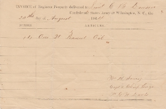 Confederate States Army at Wilmington, N.C. document