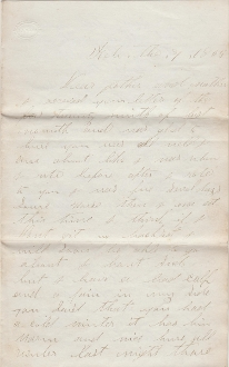6th Indiana Cavalry soldier's letter/ Sick in the Hospital