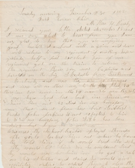 94th Ohio Infantry soldier's letter