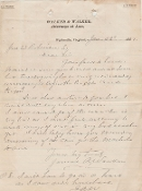 Walker, James autograph letter/ 1888 telephone use