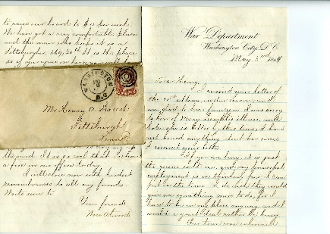 Pennsylvania Light Artillery soldier's letter/ President Lincoln