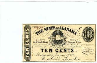 CSA Alabama 10 c Note