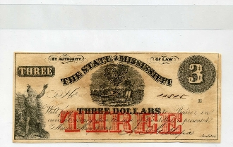 CSA Mississippi $3. Note