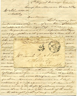 16th Mississippi Inf. soldier's letter and cover, Tudor Hall, VA