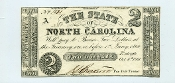 CSA North Carolina $2 Note, 1861, CU