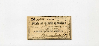 CSA North Carolina 25 c Note, 1861, AU