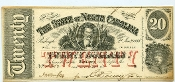 CSA North Carolina $20 Note, 1863, CU
