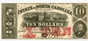 CSA North Carolina $10 Note 1863,  UNC