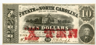 CSA North Carolina $10 1863 Note, CH-CU