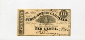 CSA North Carolina 10 c Note, 1863, CU