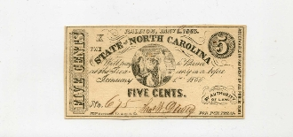 CSA North Carolina 5 c Note, 1863,  CU