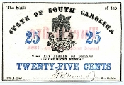 CSA South Carolina 25 c 1863 Note, CU,