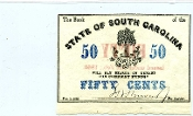 CSA South Carolina 50 c 1863 Note, CU, Watermarked