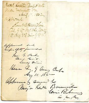 Hawkins, Rush / Parke, John autographed document/ 103rd NY Inf.