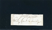 Bartlett, Joseph war time autograph