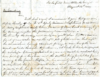 6th Missouri Infantry soldier's letter/ In the Field/ Atlanta