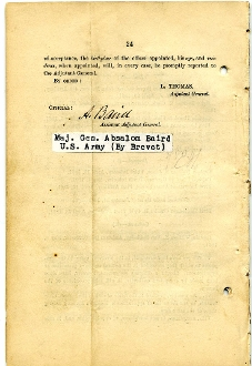 Baird, Absalom autographed G.O./ list of officers joined the CSA