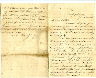 3rd South Carolina Battn Infantry soldier's letter/ Camp Johnson