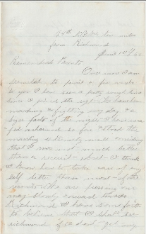 44th New York Infantry soldier's letter