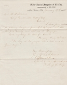 Holabird, Samuel autographed document/ Inspector of Cavalry