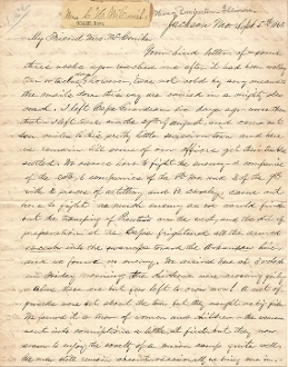 20th Illinois Infantry soldier's letter/ Jackson, Missouri