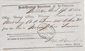Rawlins, John autographed document/ 114th Ohio Infantry