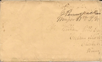 Pennypacker, Galusha autograph/ franked soldier's cover