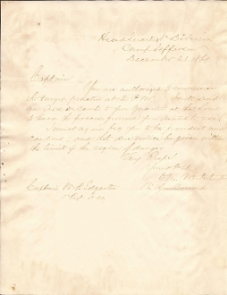 Mitchell, Ormsby autographed letter/ 1st Ohio Light Artillery