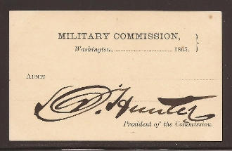 Hunter, David Lincoln assassination trial pass signed