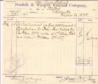 Huger, Frank Rail Road autographed document