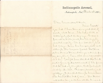 65th Indiana Infantry soldier's letter / Indianapolis Arsenal