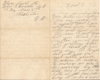 18th Massachusetts Infantry soldier's letter/ Fredericksburg