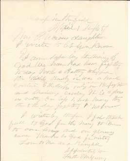 91st Pennsylvania Infantry letter /Battle of Five Forks, VA