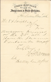 Barnum, Henry autographed letter/ MOH