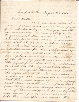 1st Virginia Cavalry soldier's letter/ Battle of 1st Manassas