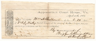 Appomattox Parole Signed by A. Fred Fleet (26th VA Infantry)