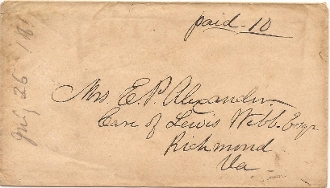 Alexander, E. P. addressed cover to his wife